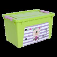 """Контейнер Алеана """"Smart Box"""" 3.5 л с декором Pet Shop, оливковый/розовый, (124045)"""