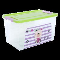 """Контейнер Алеана """"Smart Box"""" 3.5 л с декором Pet Shop, прозрачный/оливковый/розовый (124045)"""