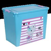 """Контейнер Алеана """"Smart Box"""" 40л с декором Pet Shop, бирюзовый/розовый (124049)"""