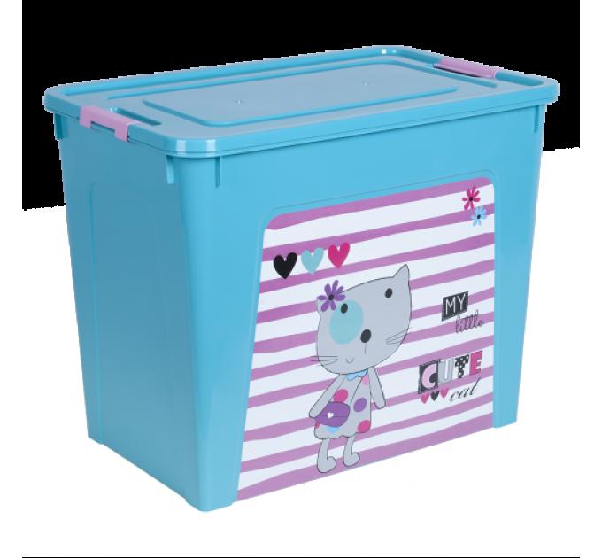 """Контейнер Алеана """"Smart Box"""" 40л с декором Pet Shop, бирюзовый/розовый (124049) - фото № 1"""