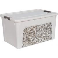 "Контейнер Алеана ""Smart Box"" 27л с декором Home, б.роза/какао (124058)"