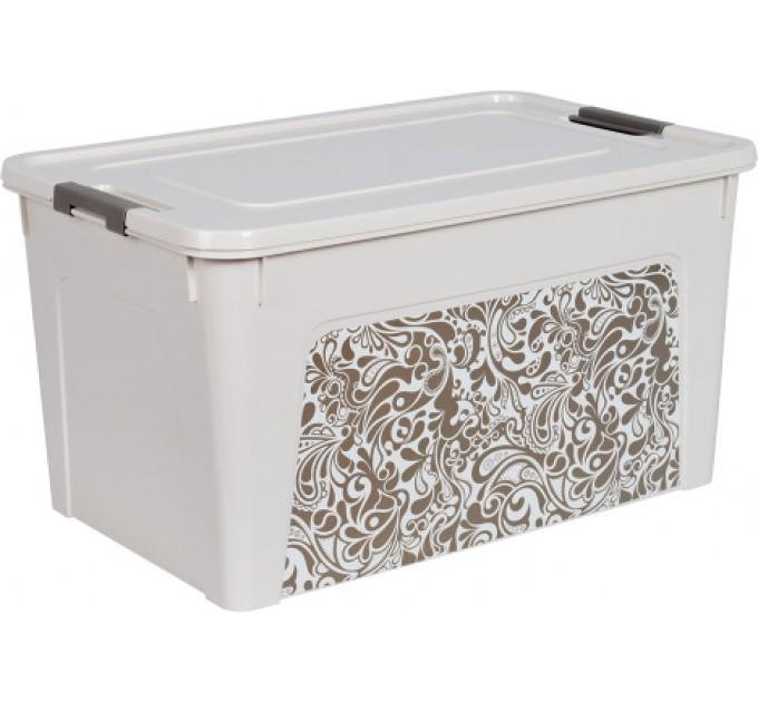 """Контейнер Алеана """"Smart Box"""" 27л с декором Home, б.роза/какао (124058) - фото № 1"""