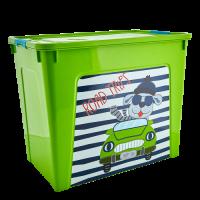 """Контейнер Алеана """"Smart Box"""" 40л с декором My Car, оливковый/бирюзовый (123099)"""