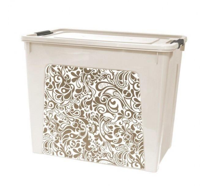 """Контейнер Алеана """"Smart Box"""" 40л с декором Home, б.роза/какао (124059) - фото № 1"""