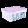 """Контейнер Алеана """"Smart Box"""" 7.9л с декором Pet Shop, прозрачный/розовый/бирюзовый (124046)"""