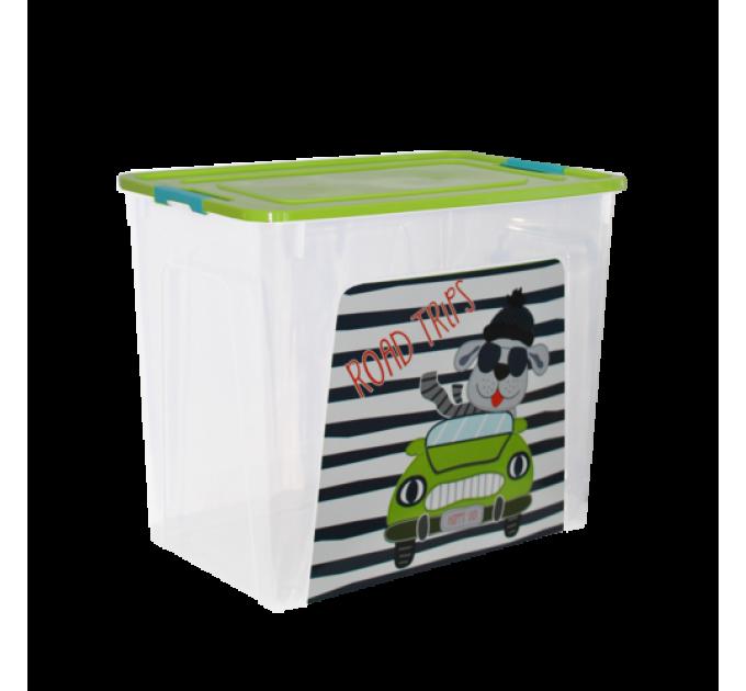 """Контейнер Алеана """"Smart Box"""" 40л с декором My Car, прозрачный/оливковый/бирюзовый (123099) - фото № 1"""