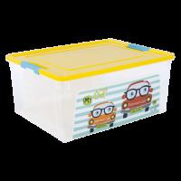 "Контейнер Алеана ""Smart Box"" 7.9л с декором My Car, прозрачный/желтый/бирюзовый (123096)"