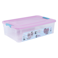 """Контейнер Алеана """"Smart Box"""" 14л с декором Pet Shop, прозрачный/розовый/бирюзовый (124047)"""