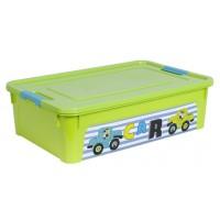 """Контейнер Алеана """"Smart Box"""" 14л с декором My Car, оливковый/бирюзовый (123097)"""