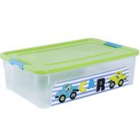 """Контейнер Алеана """"Smart Box"""" 14л с декором My Car, прозрачный/оливковый/бирюзовый (123097)"""