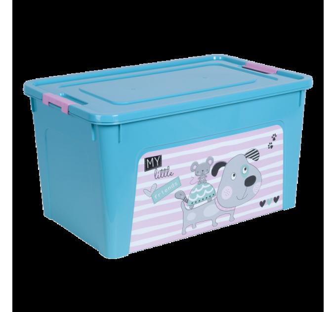 """Контейнер Алеана """"Smart Box"""" 27л с декором Pet Shop, бирюзовый/розовый (124048)"""