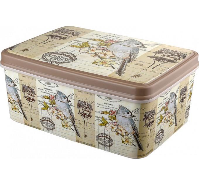Контейнер для хранения вещей Elif 3,5л с рисунком, птичка (504-18)