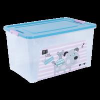 """Контейнер Алеана """"Smart Box"""" 27л с декором Pet Shop, прозрачный/бирюзовый/розовый (124048)"""