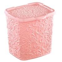 """Контейнер для порошка Elif """"Ажур"""" 6л, 20.5*23*23см, розовый (383-3)"""