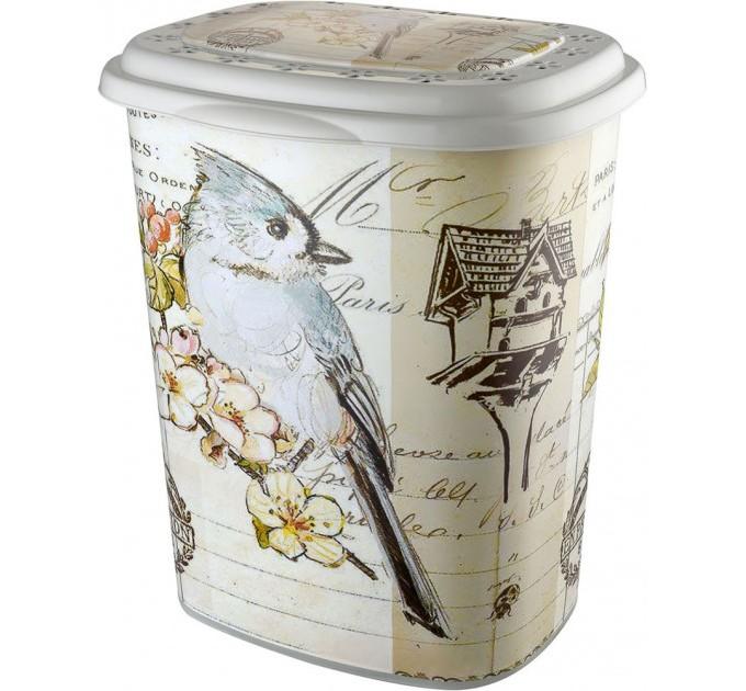 Корзина для белья Elif Принт 53л, 38х45х53см, птица (339-18) - фото № 1