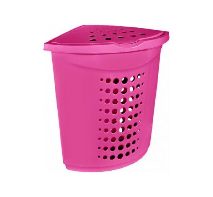 Корзина для белья Алеана 45л угловая, темно-розовый (122051)