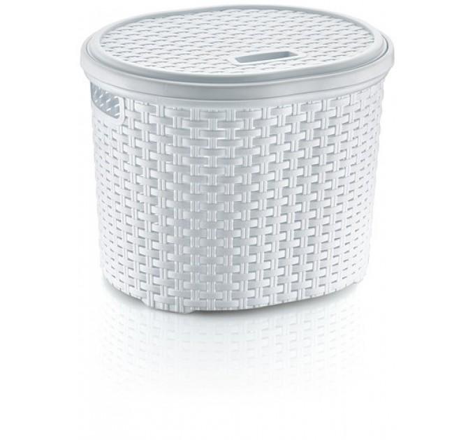 Корзина для белья круглая с крышкой OZ-ER PLastik РОТАНГ 17л, белый (S027-X24) - фото № 1