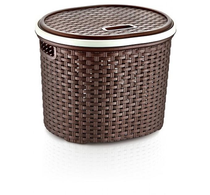Корзина для белья круглая с крышкой OZ-ER PLastik РОТАНГ 17л, коричневый (S027-X23) - фото № 1