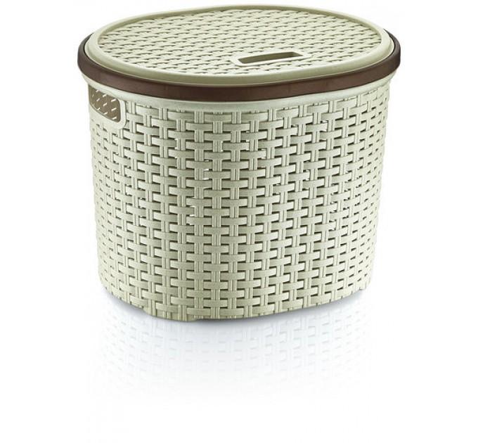 Корзина для белья круглая с крышкой OZ-ER PLastik РОТАНГ 17л, кремовый (S027-X21) - фото № 1