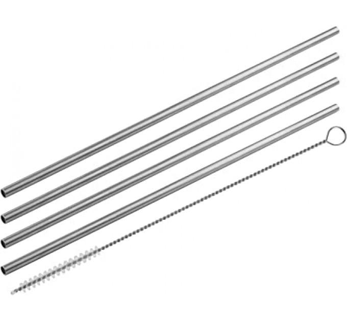 Трубочки для коктейлей Fackelmann ECO 4шт, йоршик для чистки,сталь (54855) - фото № 1