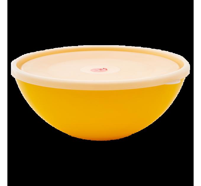 Миска с крышкой Алеана 2л, темно-желтая/прозрачный (167017) - фото № 1