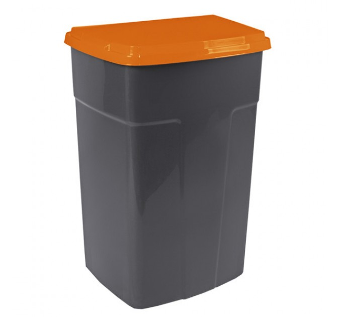 Бак мусорный Алеана 90л, темно-серый/оранжевый (122062)