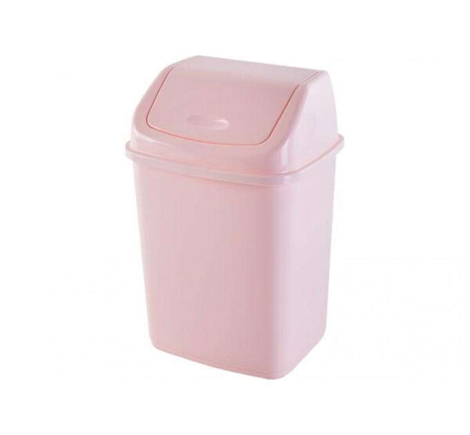 Мусорное ведро Алеана 5л с крышкой, светло розовый (122061)