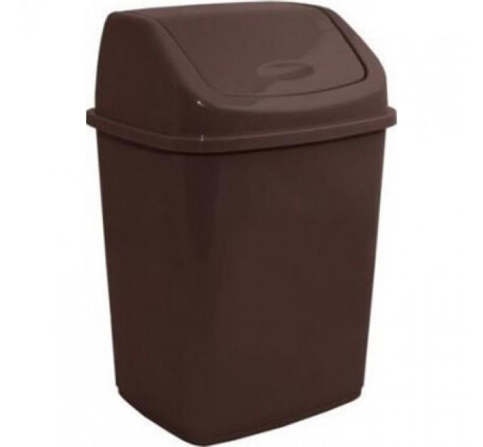 Мусорное ведро Алеана 18л с крышкой, коричневый (122065) - фото № 1