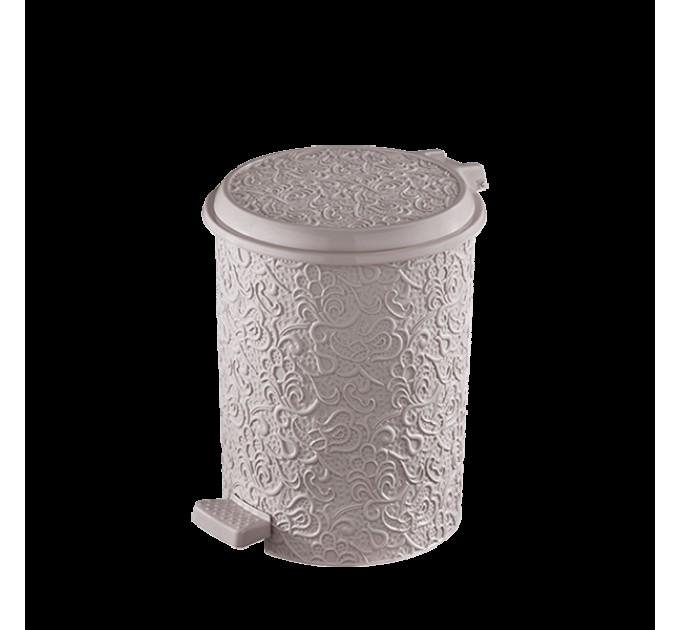 """Набор мусорных ведер с педалью Elif """"Ажур"""", 3 в 1, 11л, 17л, 24л, пудровый (320-6) - фото № 1"""