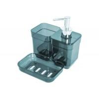 Набор аксессуаров в ванную комнату Eco Fabric CUBE (дозатор, мыльница, стакан для щеток), прозрачный зеленый (TRL-2036-TG)