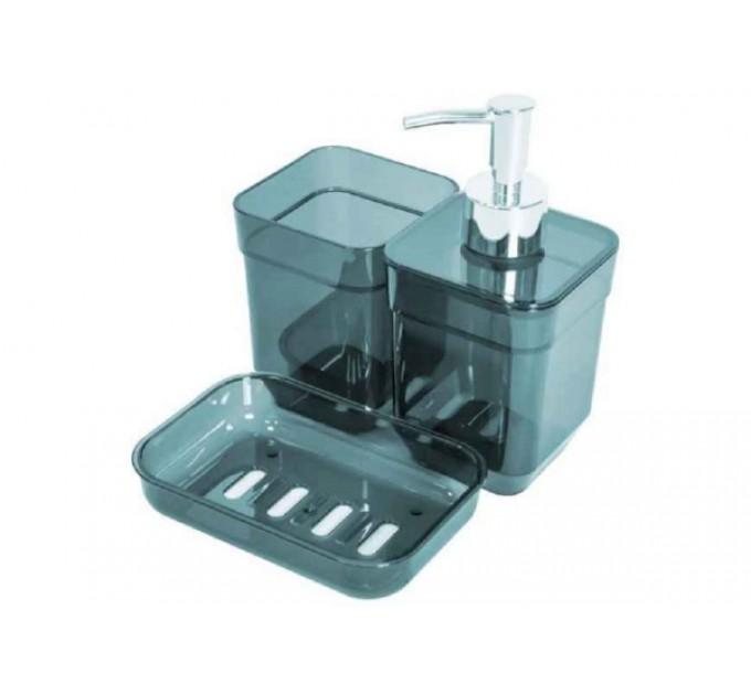 Набор аксессуаров в ванную комнату Eco Fabric CUBE (дозатор, мыльница, стакан для щеток), прозрачный зеленый (TRL-2036-TG) - фото № 1