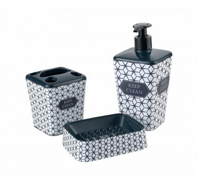 Набор аксессуаров в ванную комнату Elif Принт (3 предмета), ромби (392-19) - фото № 1