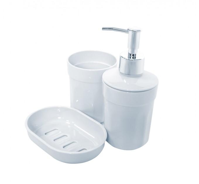 Набор аксессуаров в ванную комнату Eco Fabric MOON (дозатор, мыльница, стакан для щеток), белый (TRL-2031-SW)
