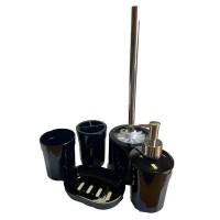 Набор аксессуаров в ванную комнату Eco Fabric MOON (5 предметов), черный (TRL-1255-SB)