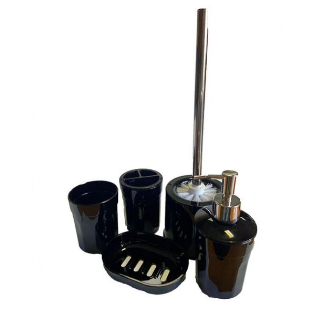 Набор аксессуаров в ванную комнату Eco Fabric MOON (5 предметов), черный (TRL-1255-SB) - фото № 1