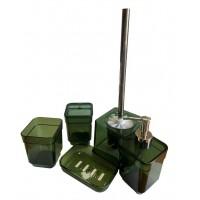 Набор аксессуаров в ванную комнату Eco Fabric CUBE (5 предметов), прозрачный зеленый (TRL-1256-TG)