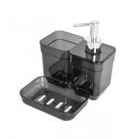 Набор аксессуаров в ванную комнату Eco Fabric CUBE (дозатор, мыльница, стакан для щеток), прозрачный черный (TRL-2033-TB)