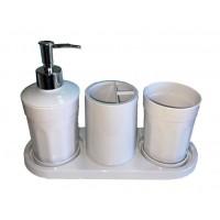 Набор аксессуаров в ванную комнату Eco Fabric MOON (4 предмета), белый (TRL-2041-SW)