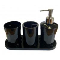 Набор аксессуаров в ванную комнату Eco Fabric MOON (4 предмета), черный (TRL-2042-SB)