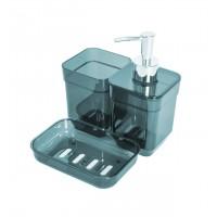 Набор аксессуаров в ванную комнату Eco Fabric CUBE (дозатор, мыльница, стакан для щеток), прозрачный бирюзовый (TRL-2034-TT)