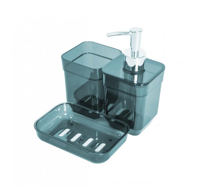 Набор аксессуаров в ванную комнату Eco Fabric CUBE (дозатор, мыльница, стакан для щеток), прозрачный бирюзовый (TRL-2034-TT) - фото № 1