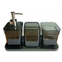 Набор аксессуаров в ванную комнату Eco Fabric CUBE (4 предмета), прозрачный черный (TRL-2043-TB)
