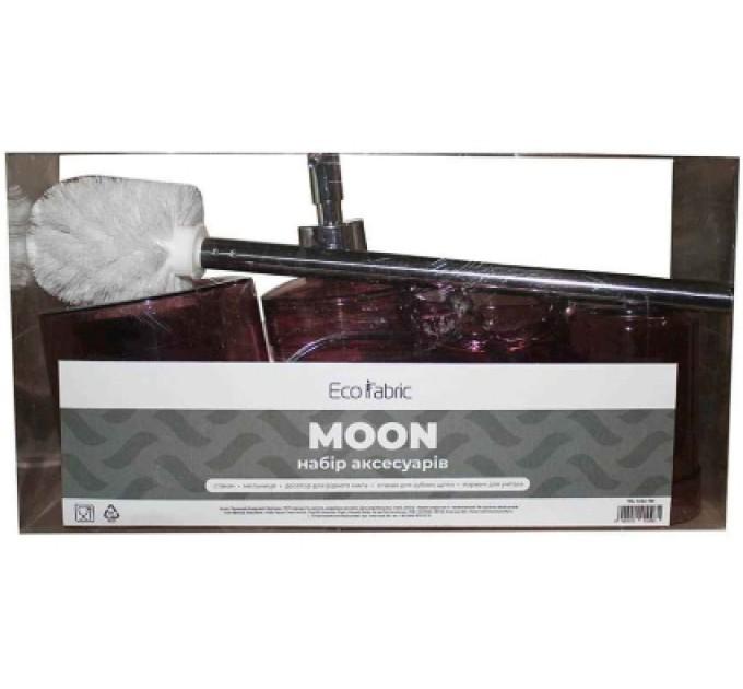 Набор аксессуаров в ванную комнату Eco Fabric MOON (5 предметов), прозрачный бордовый (TRL-1252-TM)