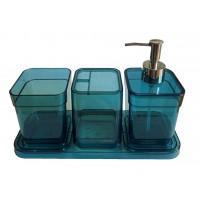 Набор аксессуаров в ванную комнату Eco Fabric CUBE (4 предмета), прозрачный бирюзовый (TRL-2044-TT)