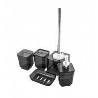 Набор аксессуаров в ванную комнату Eco Fabric CUBE (5 предметов), прозрачный черный (TRL-1253-TB)