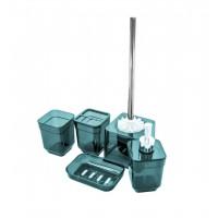 Набор аксессуаров в ванную комнату Eco Fabric CUBE (5 предметов), прозрачный бирюзовый (TRL-1254-TT)