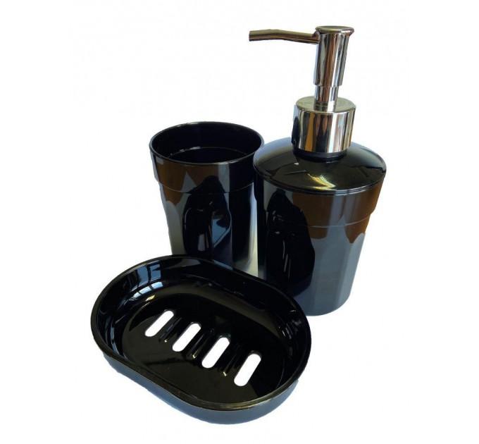 Набор аксессуаров в ванную комнату Eco Fabric MOON (дозатор, мыльница, стакан для щеток), черный (TRL-2035-SB) - фото № 1