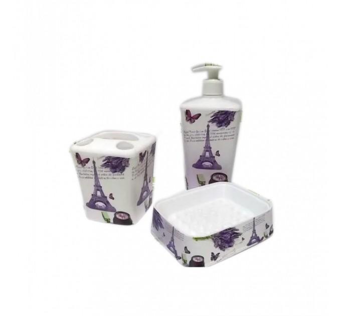 Набор аксессуаров для ванной комнаты Elif Принт (3 предмета), париж (392-8)