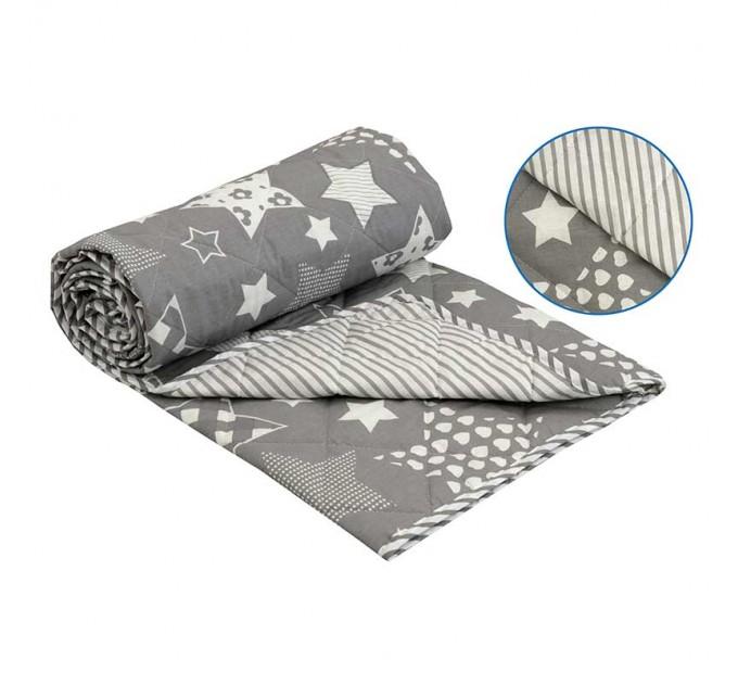 """Одеяло РУНО 172х205 """"Grey star"""", хлопоквое - фото № 1"""