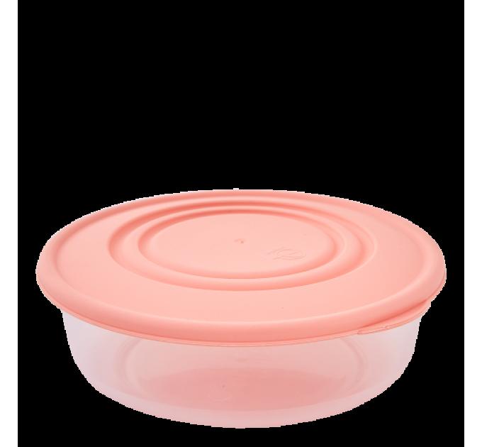 Контейнер для пищевых продуктов Алеана круглый 1.025л, прозрачный/абрикосовый (167034) - фото № 1